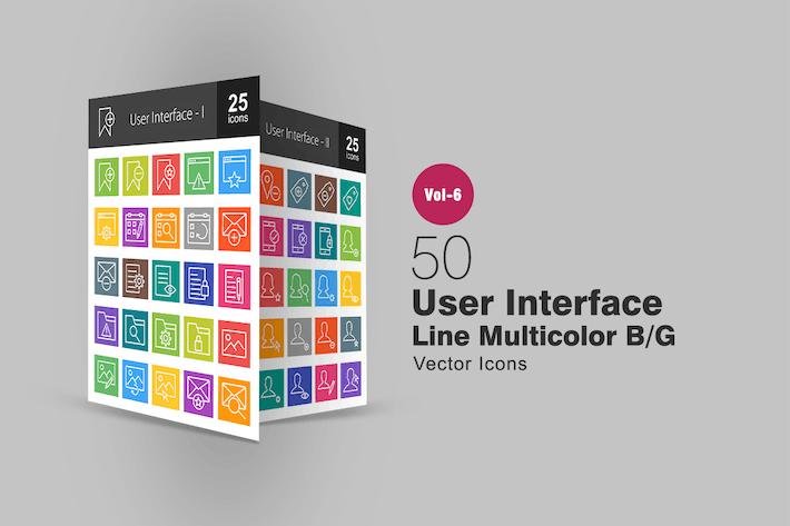 Thumbnail for 50 Íconos Interfaz de usuario multicolor B/G