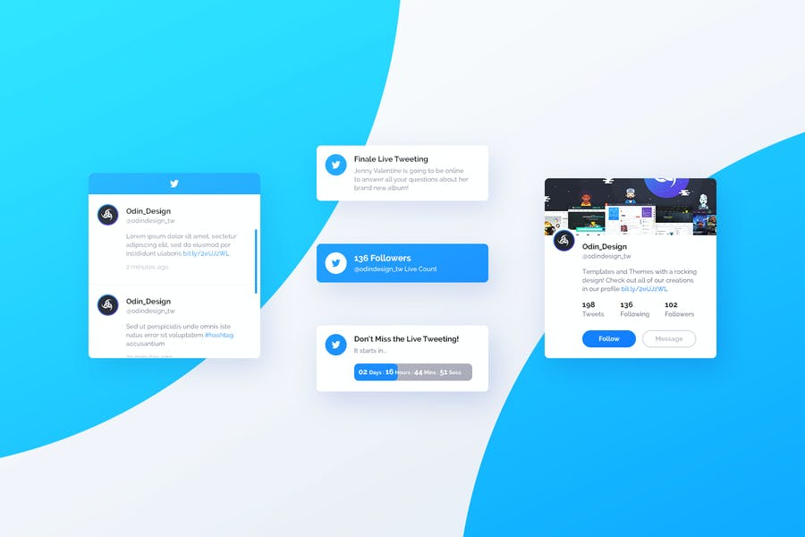 Asgard Plugin - Twitter UI Cards - PSD Template