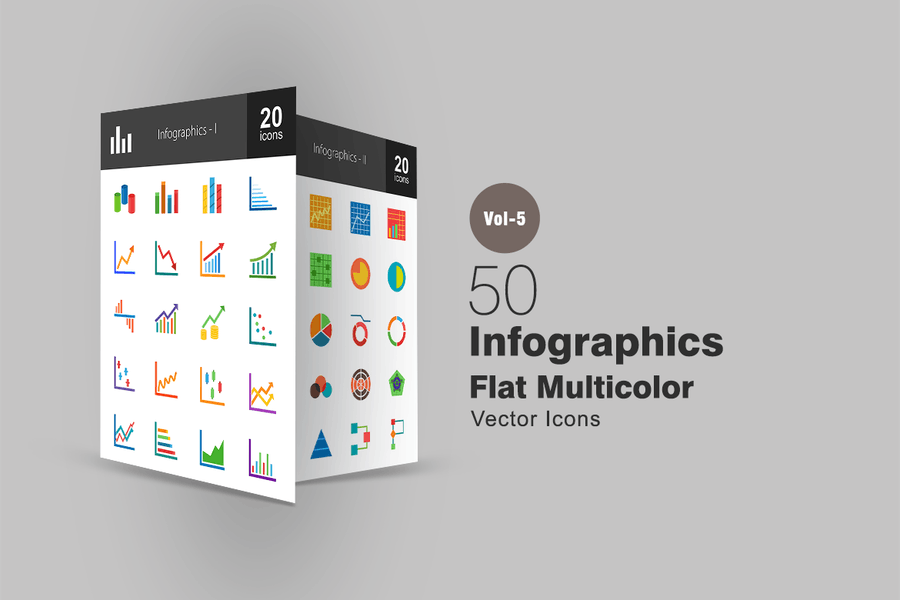 40 Infographics Flat Multicolor Icons