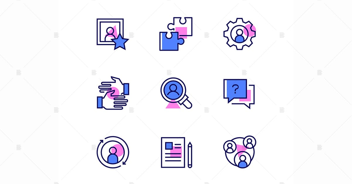 Download Business and management - line design style icons by BoykoPictures