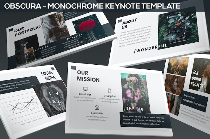 Thumbnail for Obscura - Monochrome Keynote Template