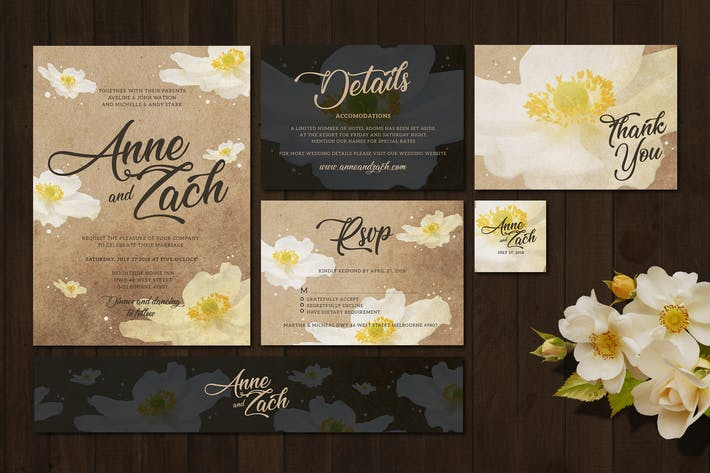 Thumbnail for Flower Vintage Wedding Invitation