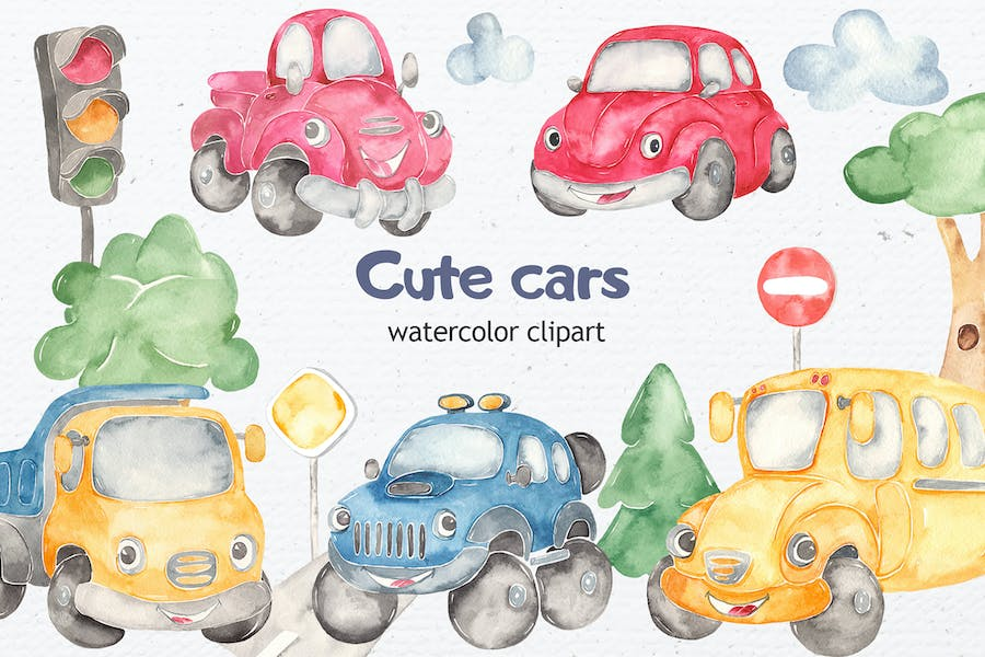 Watercolor cute Cars. Clipart, cards, patterns