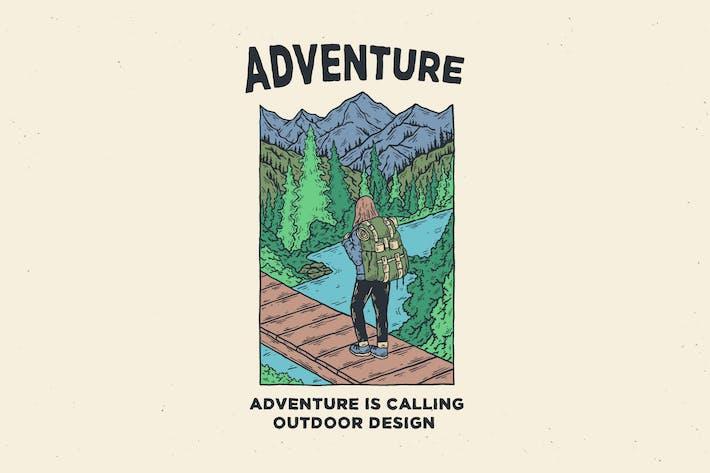 design d'illustration d'aventure vintage