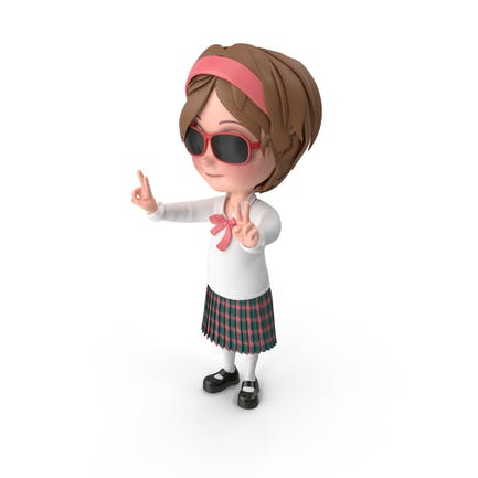 Cartoon Girl Wearing Sunglasses