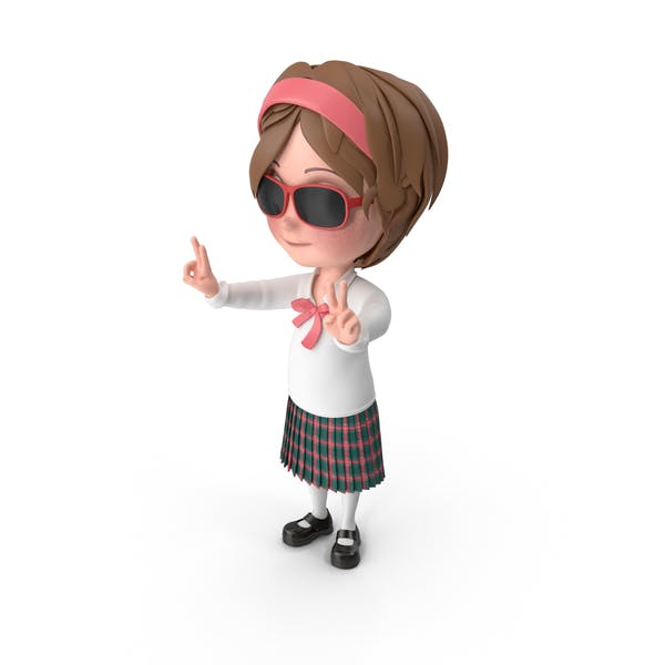 Thumbnail for Cartoon Girl Wearing Sunglasses