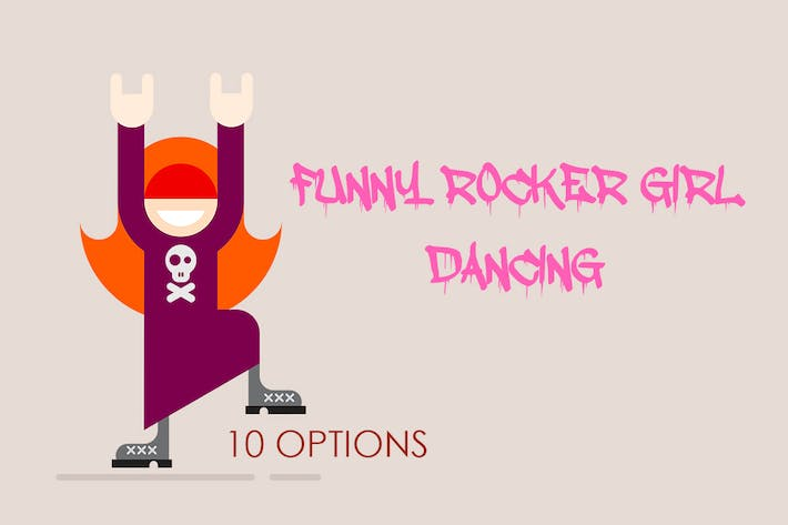 10 options of Funny Girl Dancing  (vector)