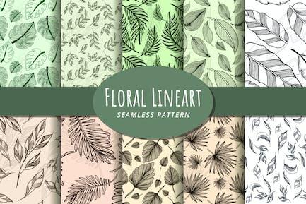 Nahtloses Blumenmuster Lineart