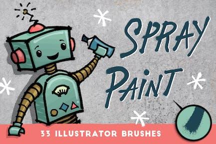 Распылительная краска - 33 Кисти Illustrator