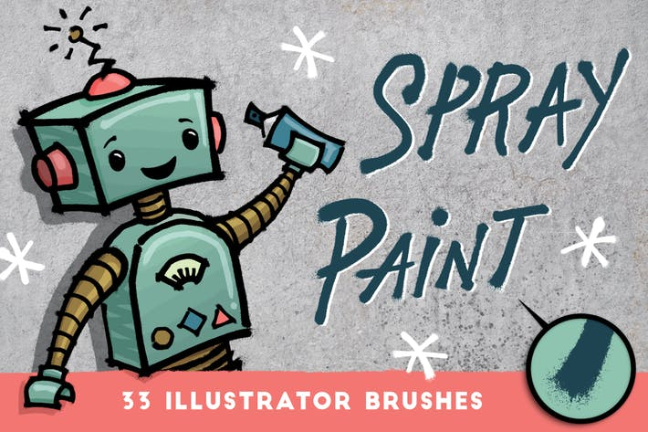 Thumbnail for Spray Paint  - 33 Illustrator Brushes