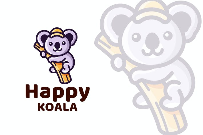 Thumbnail for Happy Koala Cute Logo Template