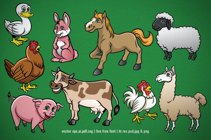 Thumbnail for set collection of cartoon farm animal