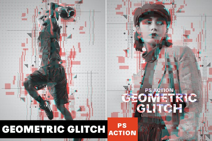 Thumbnail for Geometric Glitch Photoshop Action