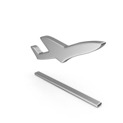 Flugzeug abheben Symbol Silber