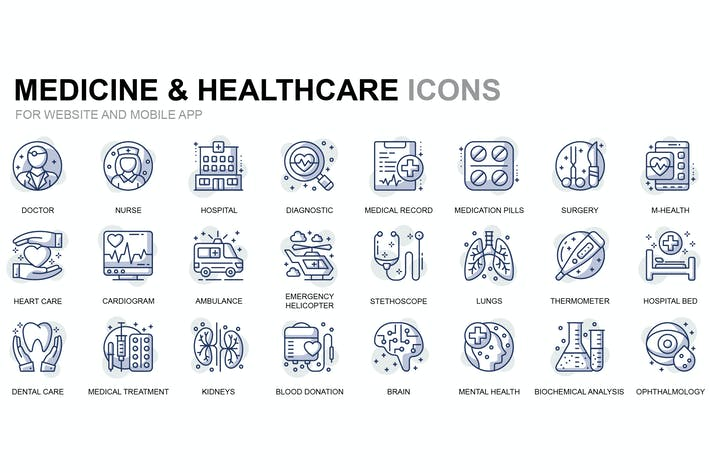 Thumbnail for Healthcare and Medicine Thin Line Icons