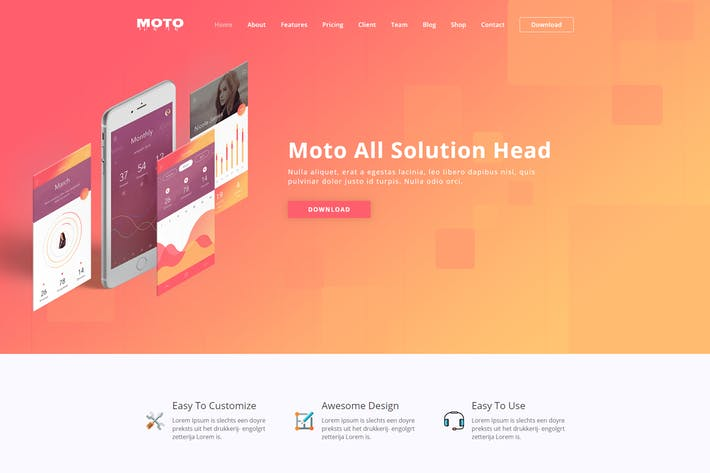 Cover Image For Moto - WordPress Landing Page Theme