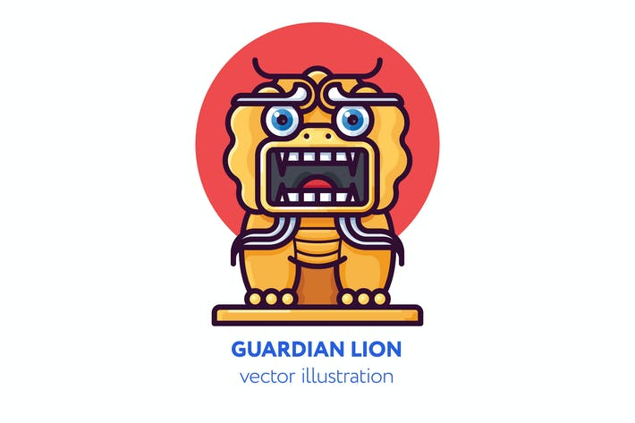 Thumbnail for Chinese guardian lion vector illustration