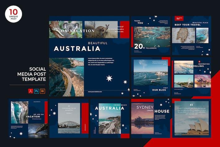 Thumbnail for Travel To Australia Social Media Kit PSD & AI
