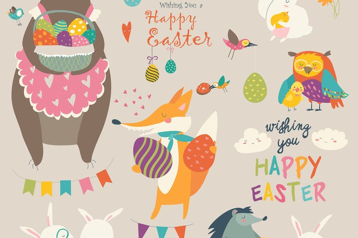 Thumbnail for Animals celebrating Easter. Vector set of cartoon