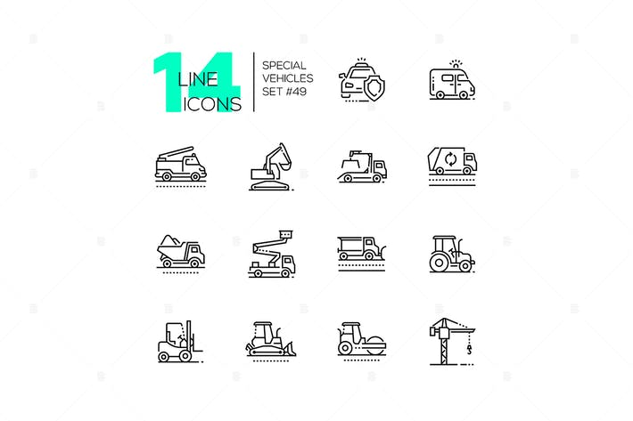 Thumbnail for Special vehicles - line design icons set