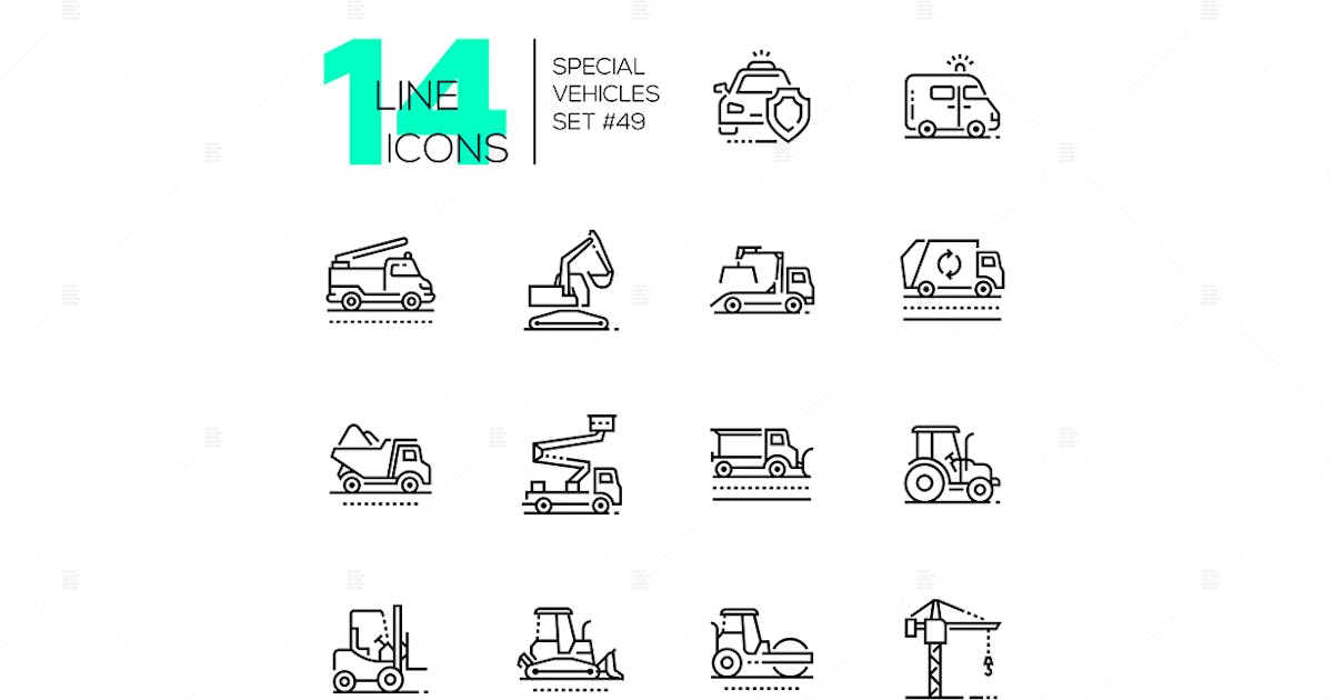 Download Special vehicles - line design icons set by BoykoPictures