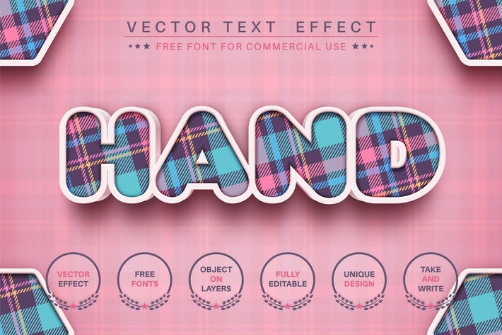 3D craft - editable text effect, font style