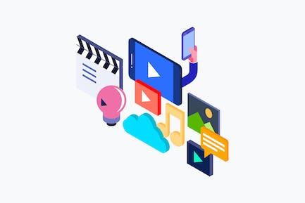 Isometrische Live-Streaming-Illustration