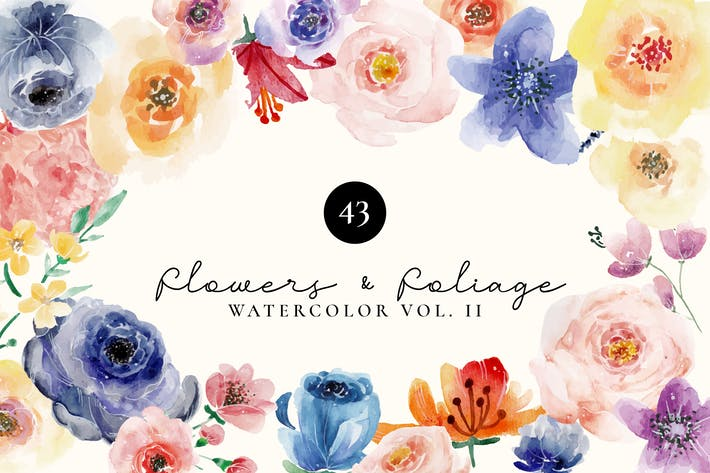 Cover Image For Flowers and Foliage Watercolor Set Vol 2