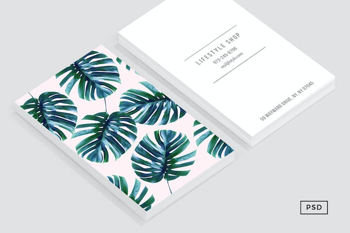 Thumbnail for Monstera + Pastel Pink Business Card