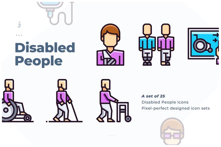 Thumbnail for 25 Disabled People Icon set
