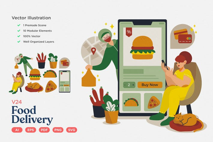 Thumbnail for Culinary Vector Illustration: Food Delivery