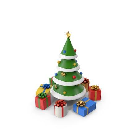 Weihnachtsbaum mit Cartoon