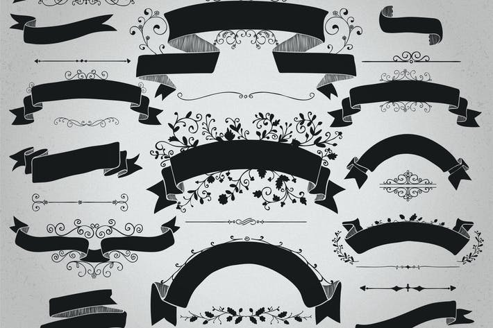 Thumbnail for Rustic Black Ribbons Banners Shapes