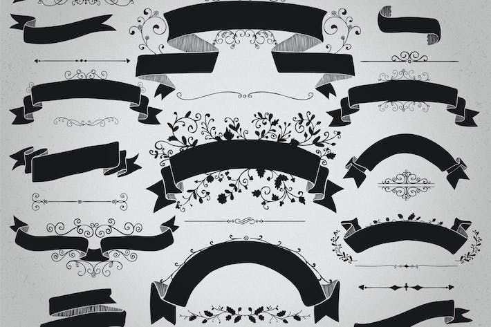 Cover Image For Rustic Black Ribbons Banners Shapes