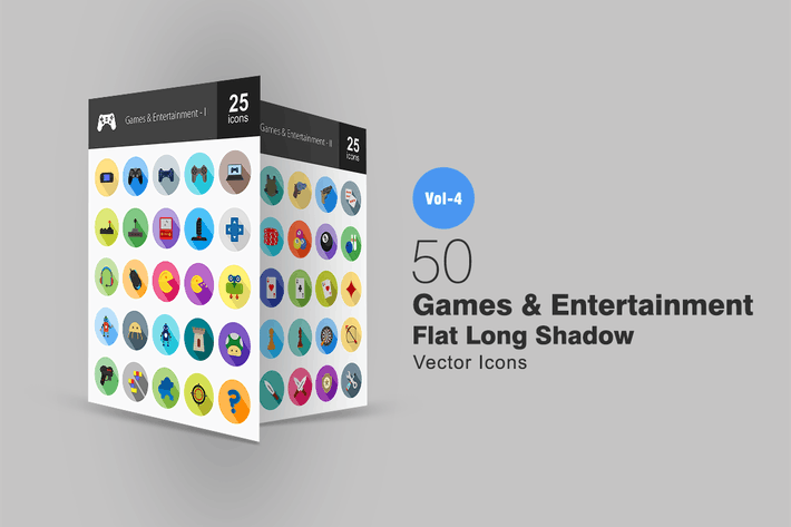 Thumbnail for 50 Games & Entertainment Flat Shadowed Icons