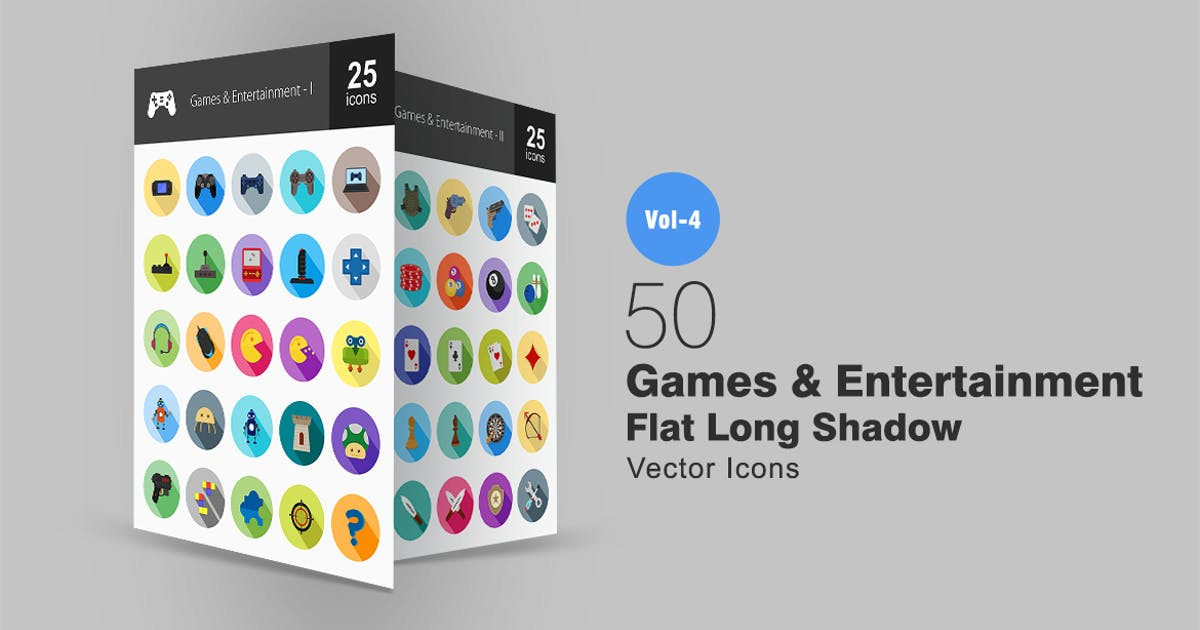 50 Games & Entertainment Flat Shadowed Icons by IconBunny