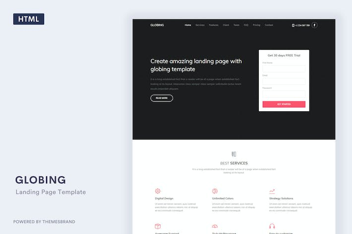Thumbnail for Globing - Landing Page Template
