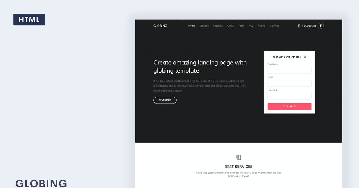 Download Globing - Landing Page Template by Themesbrand