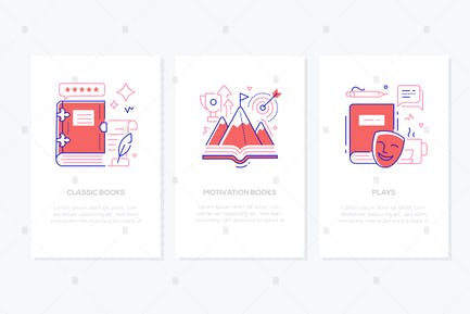 Literature and reading - line design style banners