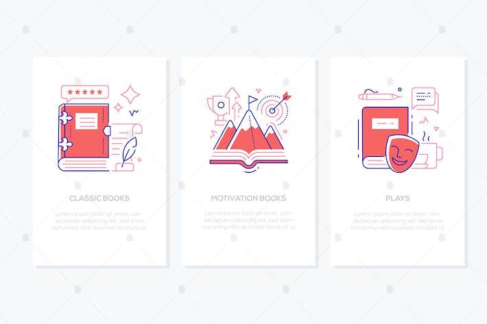 Literatur und Lesen - Liniendesign Stil Banner