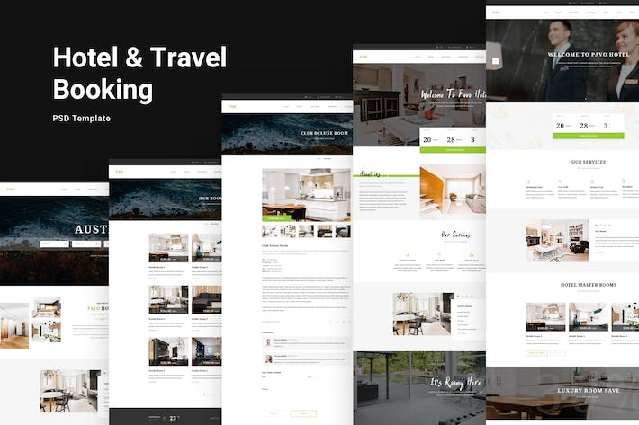 Cover Image For Pavo - Hotel PSD Template
