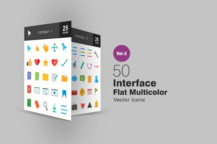 Thumbnail for 50 Web Interface Flat Multicolor Icons