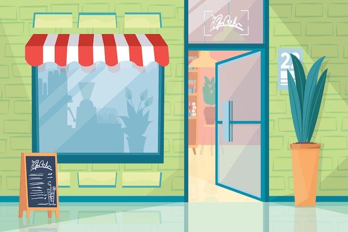 Outdoor cafe - Illustration Background