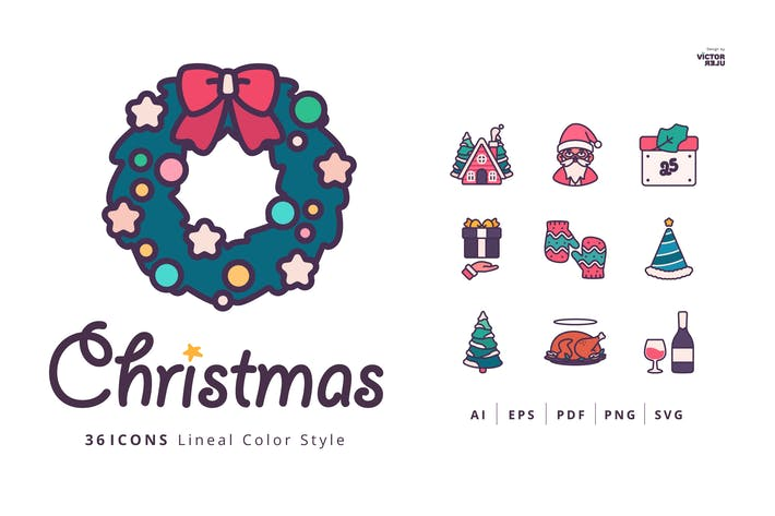 Thumbnail for 36 Christmas Icons Lineal Color Style