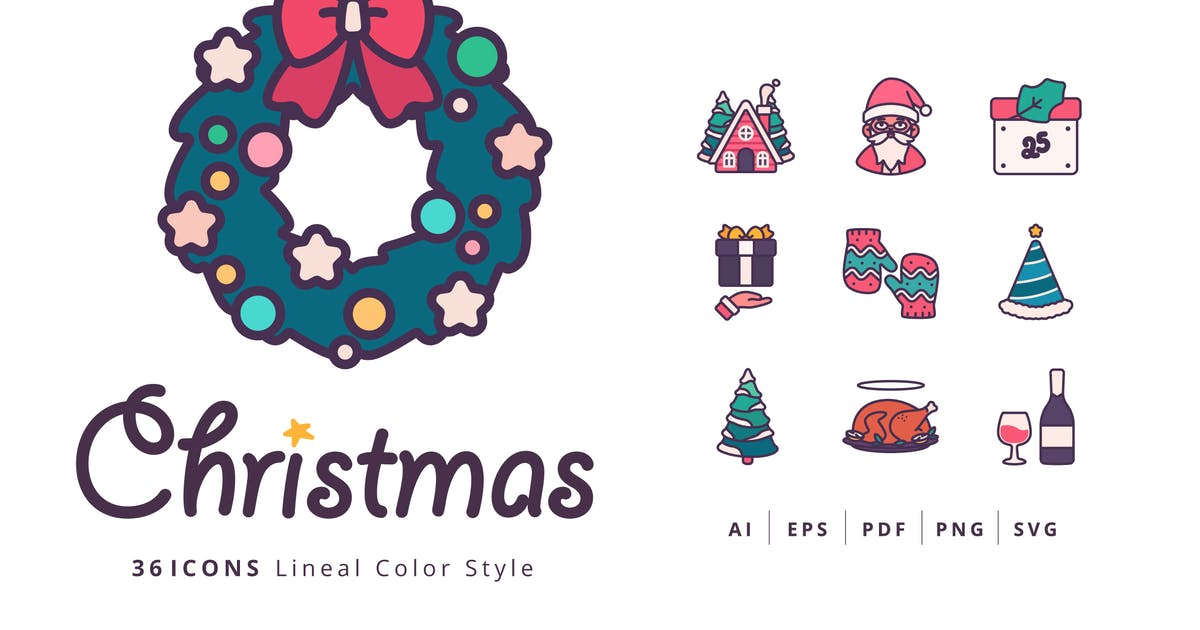 Download 36 Christmas Icons Lineal Color Style by Victoruler