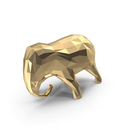 Niedrige Poly-goldene Elefanten-S