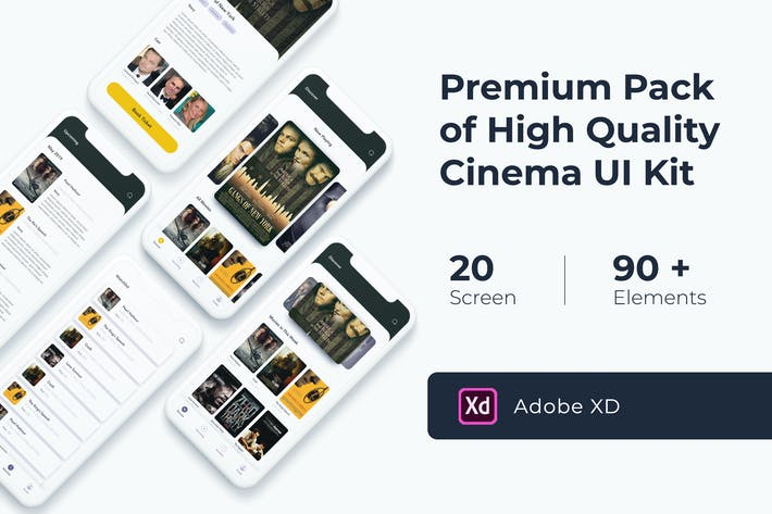 Thumbnail for Cinema Movie UI KIT for XD