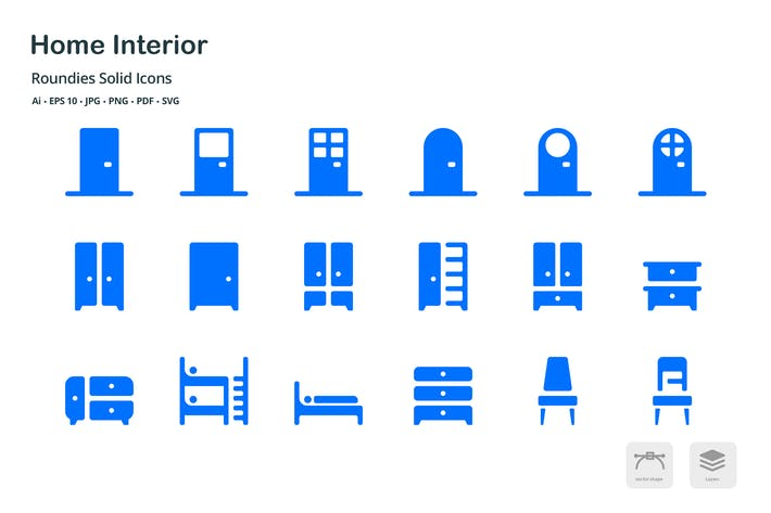Thumbnail for Home Interior Roundies Solid Glyph Icons