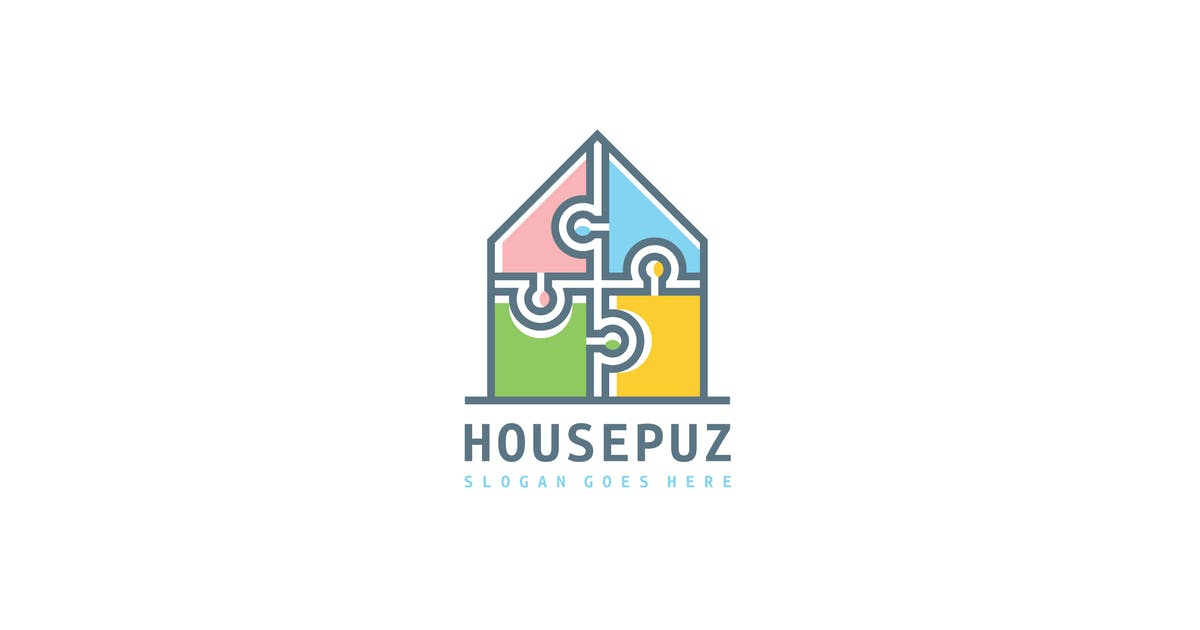 Download House Puzzle Logo by 3ab2ou