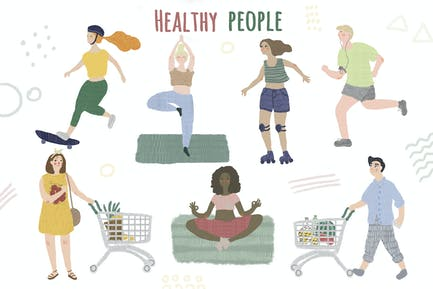 Conjunto de Ilustraciones para personas de estilo de vida saludable